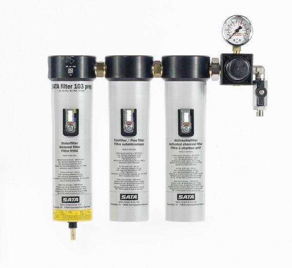 SATA 103 prep Sinter-, Fein- u. Aktivkohlefilter mit Druckregler u. Abgangshahn